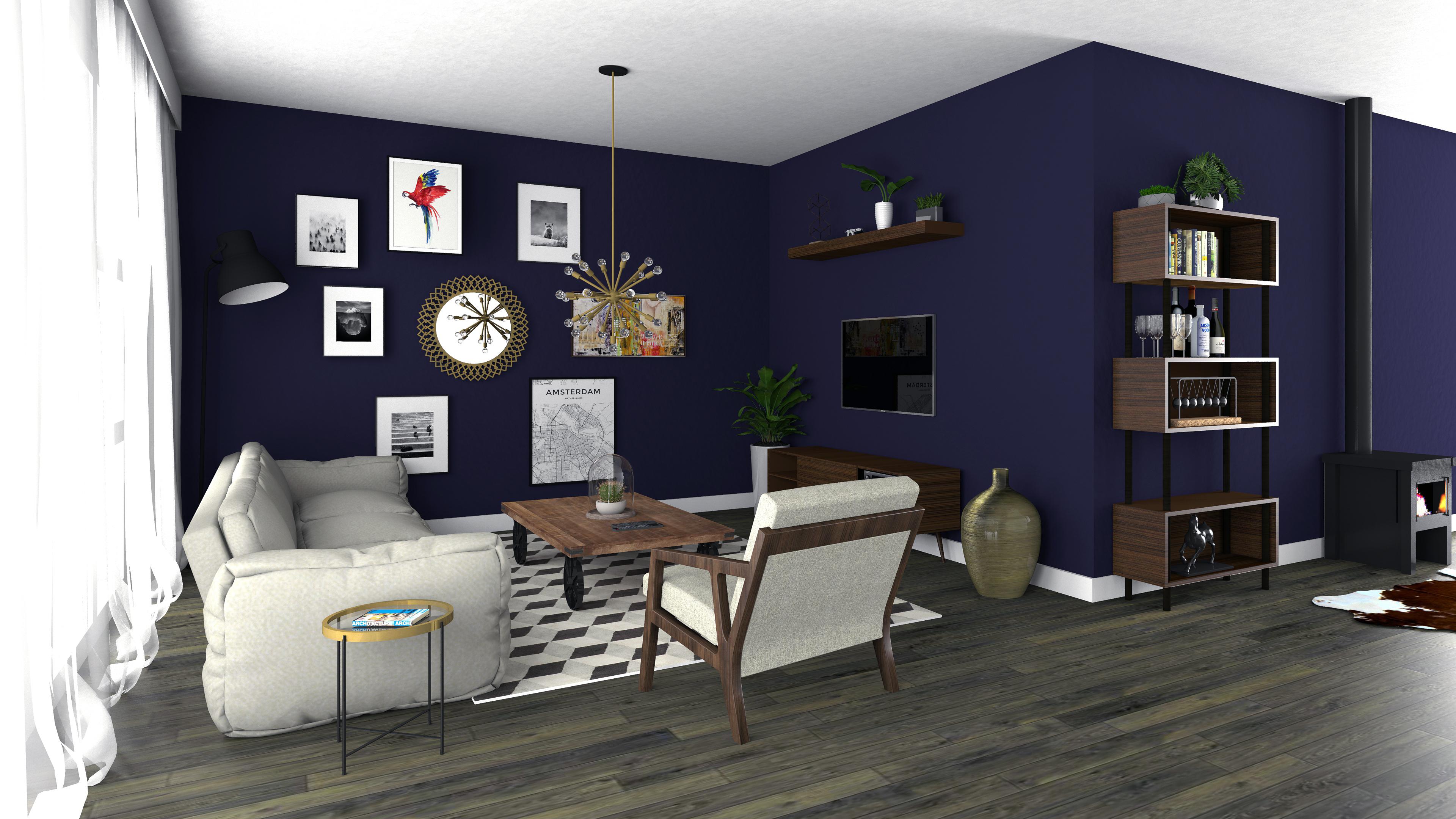 Woonkamer met houtkachel – SeMora Impressies