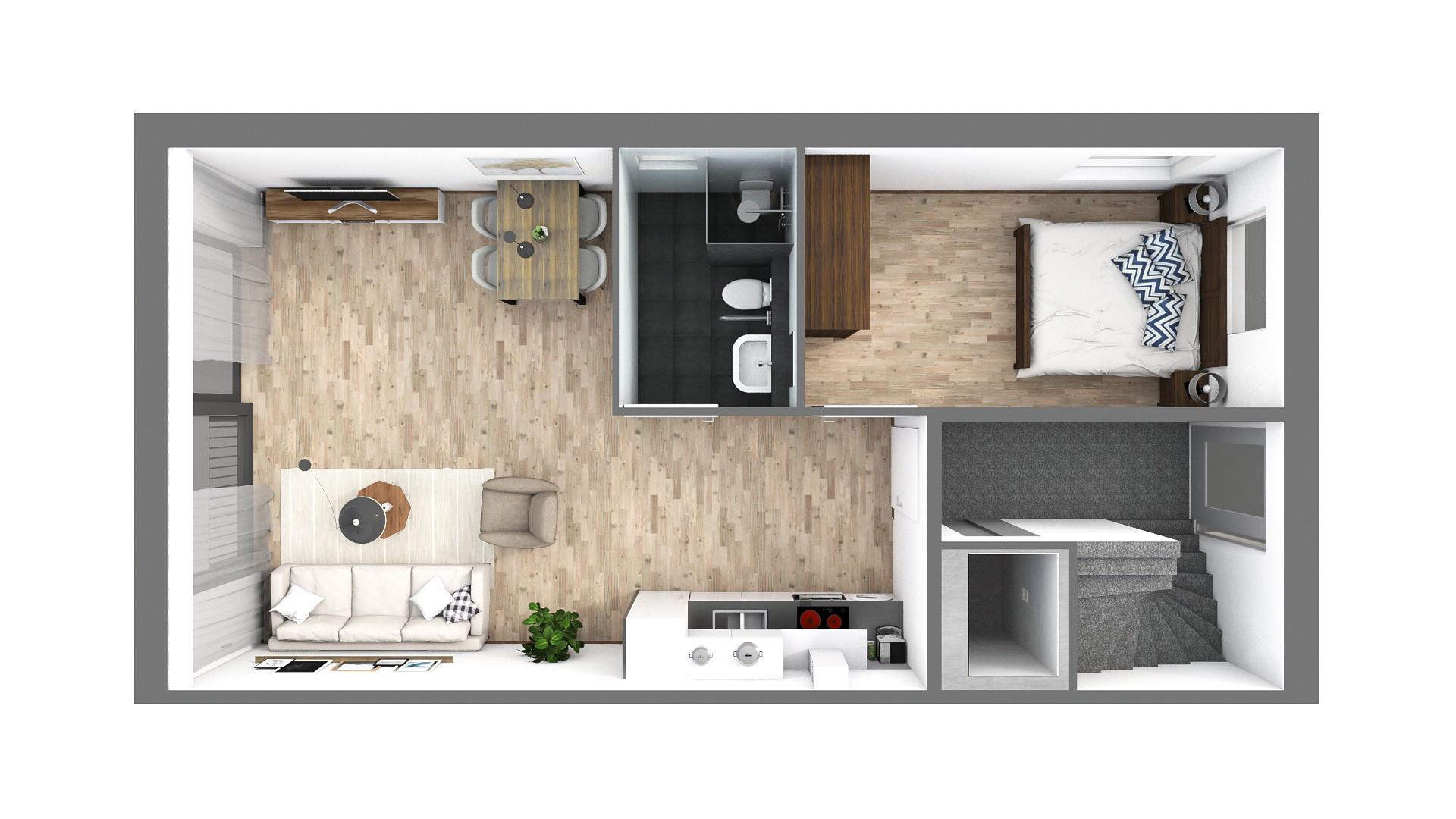 3D-plattegrond senioren nieuwbouw appartement in Almere-Poort.