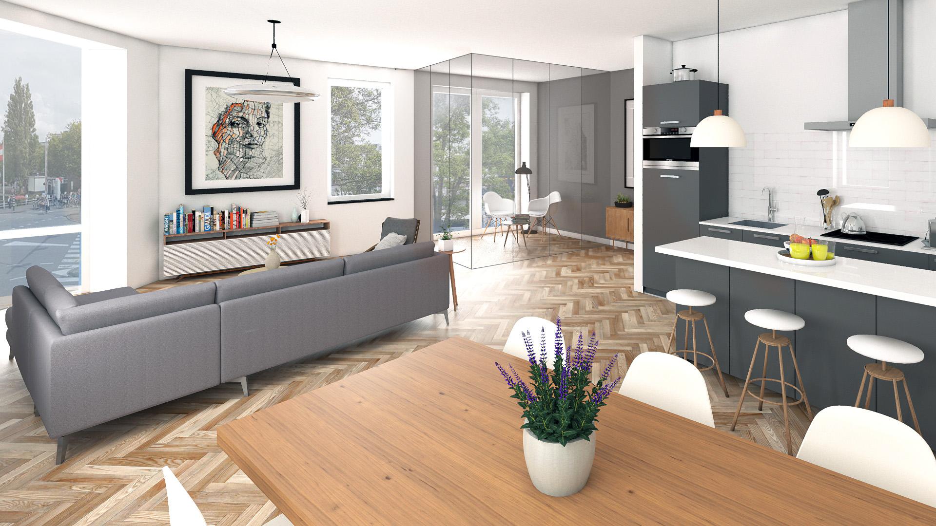 Impressie appartement transformatieproject Vredebest 1 Gouda
