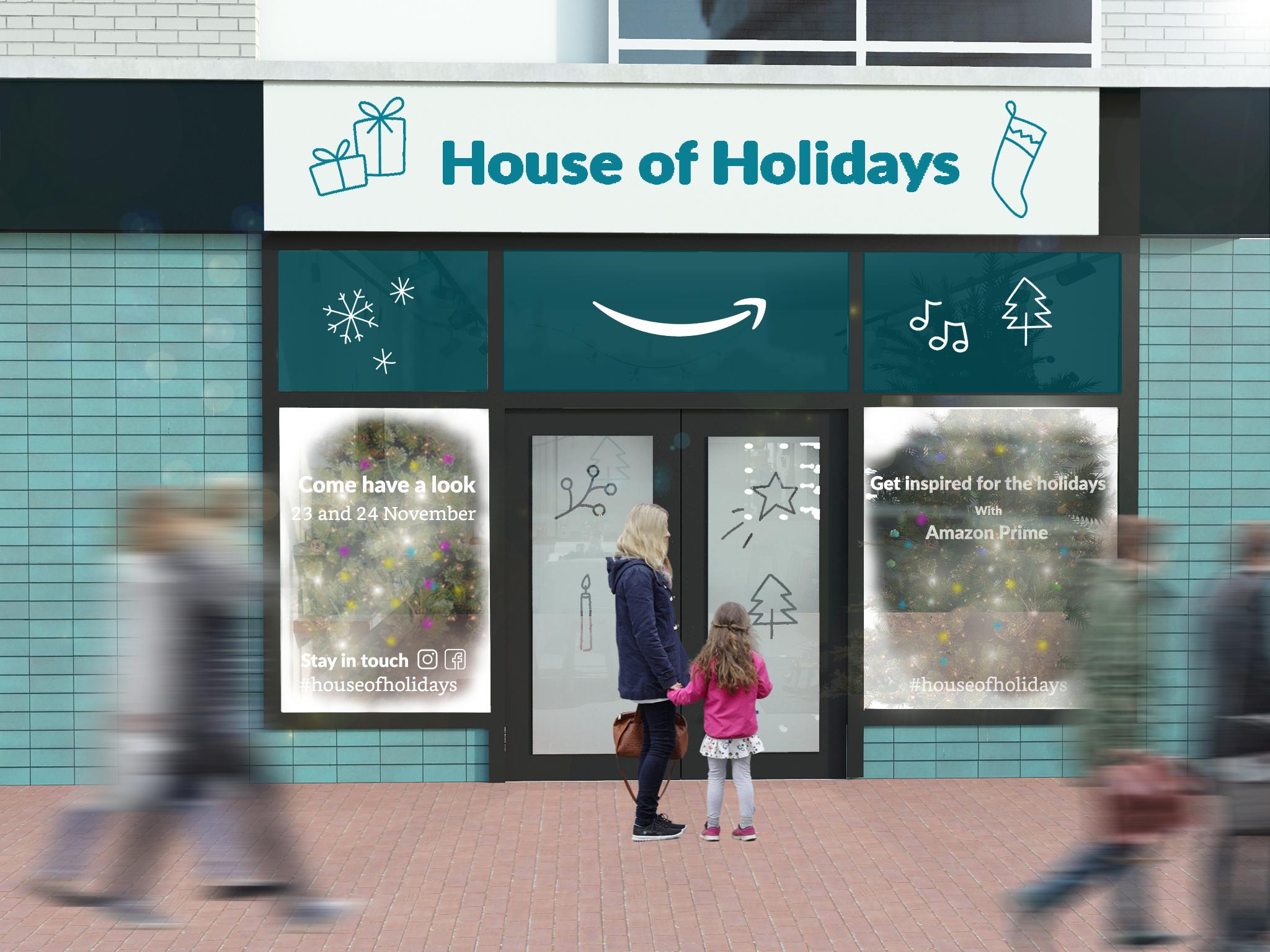 Gevel impressie pop-up store Amazon Prime Amsterdam. In opdracht van J9H Communications.