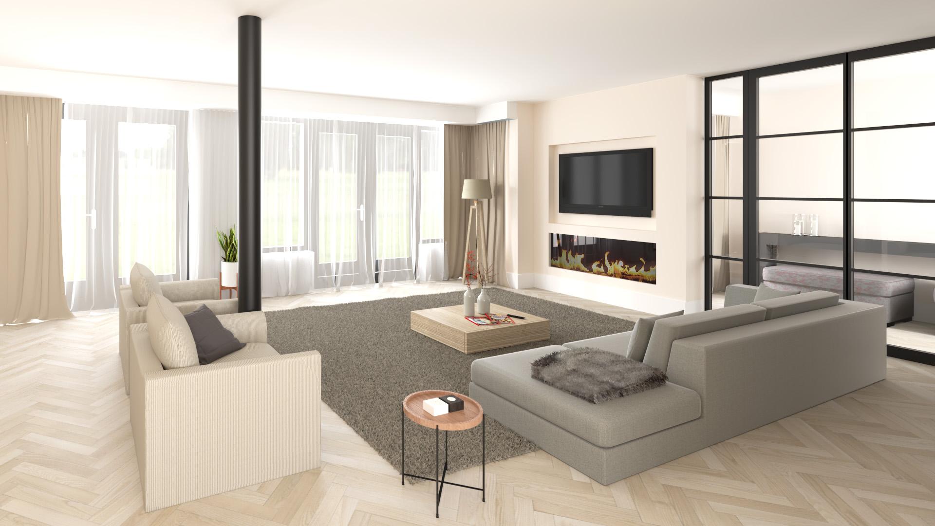 impressie uitbouw woonkamer
