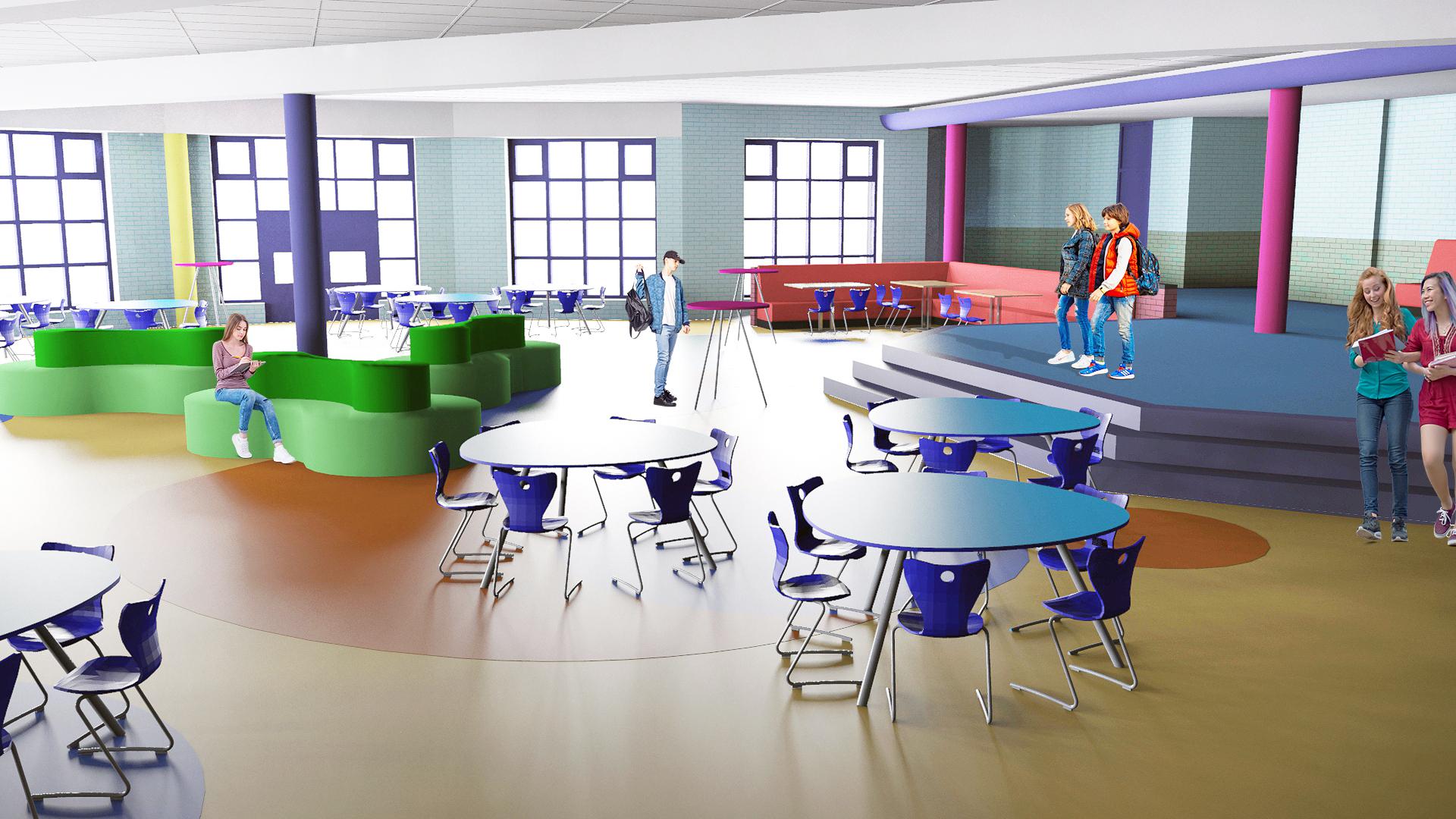Inrichting aula College de Heemlanden, Houten.