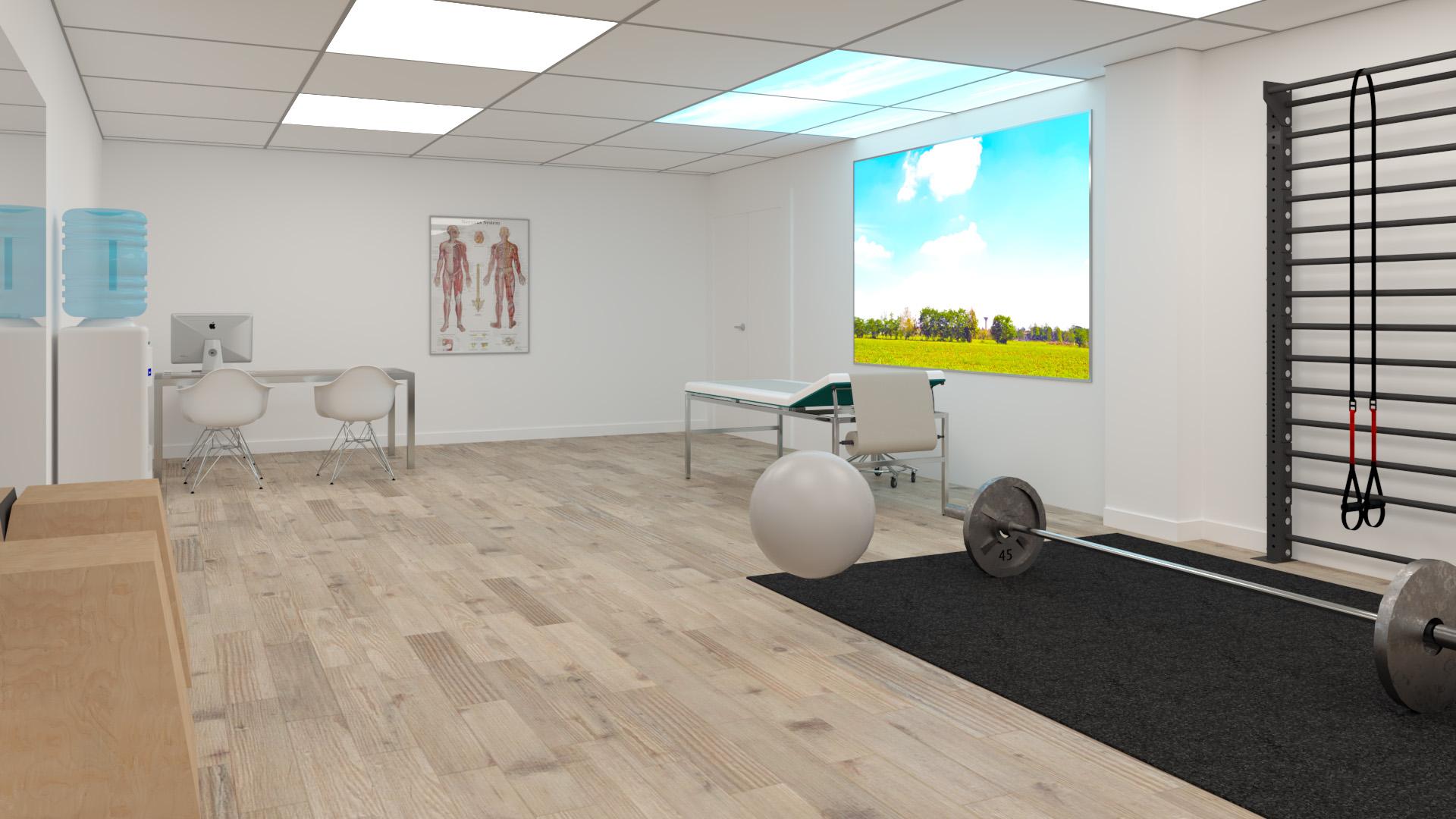 Transformatie souterrain kamer bankgebouw naar behandelruimte gezondheidscentrum Bussum.